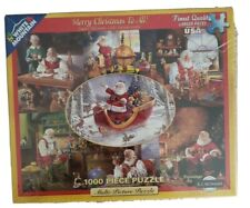 White Mountain MERRY CHRISTMAS TO ALL - Santa collage 1000 pc puzzle. New sealed