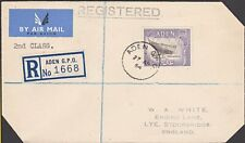 ADEN 1954 1/- on registered 2d Class cover to UK - ........................56768