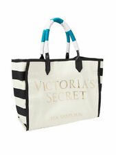 "New $58 VICTORIA SECRET STRIPE canvas tote 16X12X8"" bag POLY LINER"