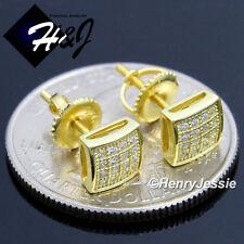 Diamond Gold Screw Back Stud Earring*Ge131 Men Women 925 Sterling Silver 6Mm Icy