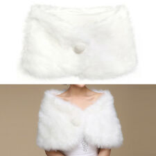 châle de fausse fourrure blanche 27x101cm pour mariée accessoire nuptiale