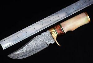 "10"" long hunting knife, Damascus steel blade,  raisen, Brass, Leather sheath"