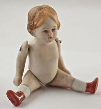Kleine Puppenstuben Puppe, Porzellan um ca.1900, Länge 11 cm.  (V3)