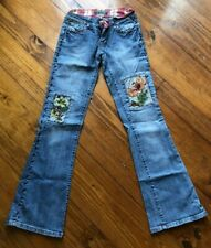 YOUNIQUE JEANS SIZE 3 JUNIORS FLARE LEGS CUTE FLOWERED PATCHES