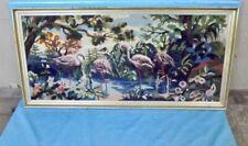 Antique Tapisserie Scène Flamant Rose Point de Croix Corse Camargue tapis cadre