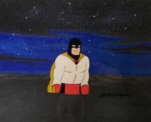 Hanna Barbera:Space Ghost Production Cel w/Matching Drawing Signed Bob Singer