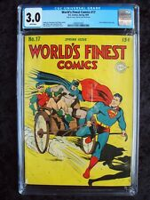 WORLD'S FINEST #17 DC COMICS GOLDEN AGE LAST CARDBOARD COVER!