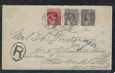 LEEWARD ISLANDS (P2906B) 1907 KE 1/2D+1D+3D REG ANTIGUA TO USA