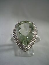 LIME GREEN  AMETHYST RING PEAR SHAPED WITH DIAMONDS SET IN STERLING SILVER