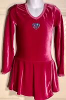 GK PEONY VELVET ICE FIGURE SKATE CHILD SMALL LgSLV HEART APPLIQUÉ DRESS CS NWT