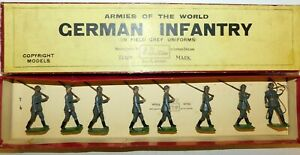 Pre-War BRITAINS 1930s Lead, German Infantry Marching, 8 Piece Boxed Set #432
