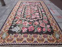 Kilim Old Traditional Hand Made European Pink Brown Wool Large Kilim 370x225cm