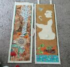 """Vintage Eclectic Wall Tapestries 25"""" X 8"""" Holiday Double sided Wall Art Handmade"""