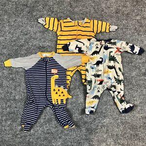 Gerber Baby Boys Sleep n Play/Sleepers 0-3 Months, Dinosaurs, Zipper Front - 3pk