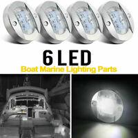 4pcs Round Marine Boat LED Cabin Deck Walkway Courtesy Lights White Stern Light