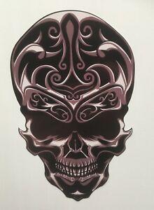 Skull Stickers, Black Floral Sugar Skull Harley Davidson Tank Style Sticker Bike