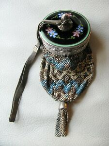 Antique Art Deco Guilloche STERLING SILVER Compact Enamel Micro Chain Mail Purse