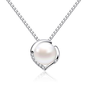 QUALITY Necklace Sterling Silver Love  Heart Pearl Silver Pendant Female Fashion