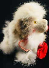Vintage Japan MECHANICAL DOG Wind-Up Toy  Rabbit Fur  Spitz Poodle TLC