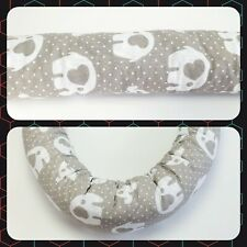 Baby Cot bed very simple bumper 2m dia: 10cm fit half way, elephant on dot grey