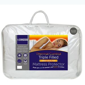Triple Fill Deep Quilted Mattress Protector 40cm Side Skirt For Thick Mattresses