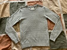 $195 Billy Reid grey textured stripe crewneck sweater S mens NEW made in italy