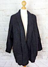 "Vintage ST MICHAEL M&S black mohair cardigan coatigan 12 14 oversize bust 50"""