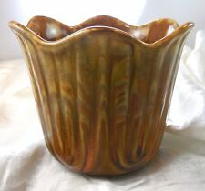 TULIP Shape Figural Vase Drip Glaze USA McCoy (?) Mid Century Modern Orange Gold
