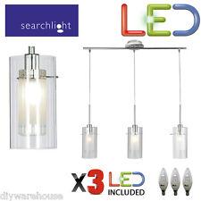 Searchlight 3303-3cc Duo 1 Chrome 3 Light Bar Pendant Double Glass Shades