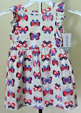 NWT Infant Girls CARTER'S 2 Piece Dress Set Size 12M Gray Pink Red Butterflies