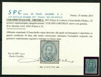 Eritrea 1893 Sass. 6 Nuovo * 100% certificato Cardillo