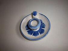KERAMIKER Kerzenständer mit Henkel blau weiß floral Handarbeit J.W. Rügen 1994