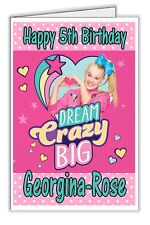 Jojo Siwa Girl's Pretty Pink Personalised Birthday Card - any name & age