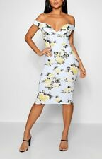 BNWT BOOHOO Floral Sweetheart Off the Shoulder Midi Dress Size 10