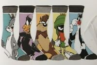 Looney Tunes Mens 5 Pair Casual Crew Socks Bugs Bunny Taz Marvin Daffy Silvester