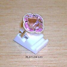 ANILLO de PLATA de 1º ley 925 y Cristal rosa flor moda+ Estuche.Anillo ajustable
