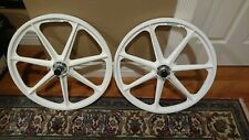 "Skyway BMX 24"" TUFF WHEELS rare polished flanged white cruiser mags"