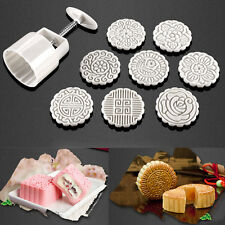 Round 100g 8 Flower Pastry Stamps Moon Cake Mold Cookies Mooncake Mould Decor
