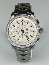 TAG Heuer Stainless Steel Link Chronograph Diamond Watch Ref. CJF2118