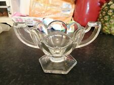 More details for vintage two-handled cut glass scalloped rim sugar trophy bowl no damage  xmas