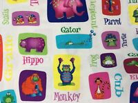 JUNGLE THINGS ANIMAL SELFIES & NAMES White BY RJR FABRICS COTTON Out of Print