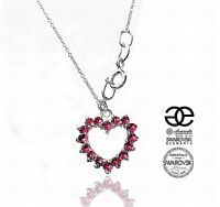 SWAROVSKI CRYSTALS BEAUTIFUL NECKLACE ROSE HEART STERLING SILVER 925