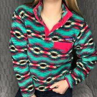 Patagonia Synchilla Snap T Fleece Pullover Aztec Tribal Wild Desert Women Size S