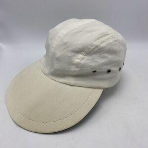 Vintage LL Bean White Beige Duck Bill Hat Long Cap Fishing USA Size Small