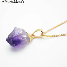 Gold Plating Small Natural Amethyst Nugget Rough Stone Pendant  Chains Necklace