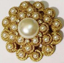 broche bijou vintage COULEUR OR signé SARAH COV perle cristaux diamant * 4347