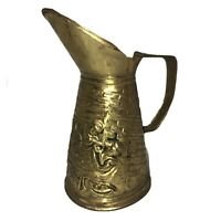 "Vintage Decorative Brass Tavern Pub TAVERN Scene 8"" Pitcher JUG Made in England"