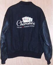 Mens Size Large Cherokee Casino Poker Black Varsity Leather Wool Jacket Coat L