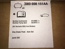 Genuine Bentley Continental GT GTC Flying Spur Front Brake Pads
