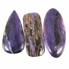 3 Pcs Natural Charoite Russia Deluxe Quality 58mm-65.7mm Huge Cabochon Gemstones